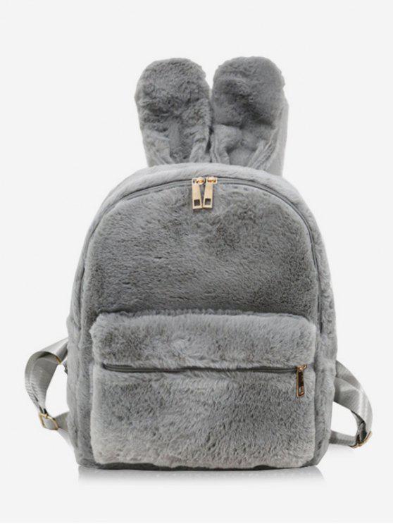 Kunstpelz Kaninchen Ohr Form Rucksack - Grau