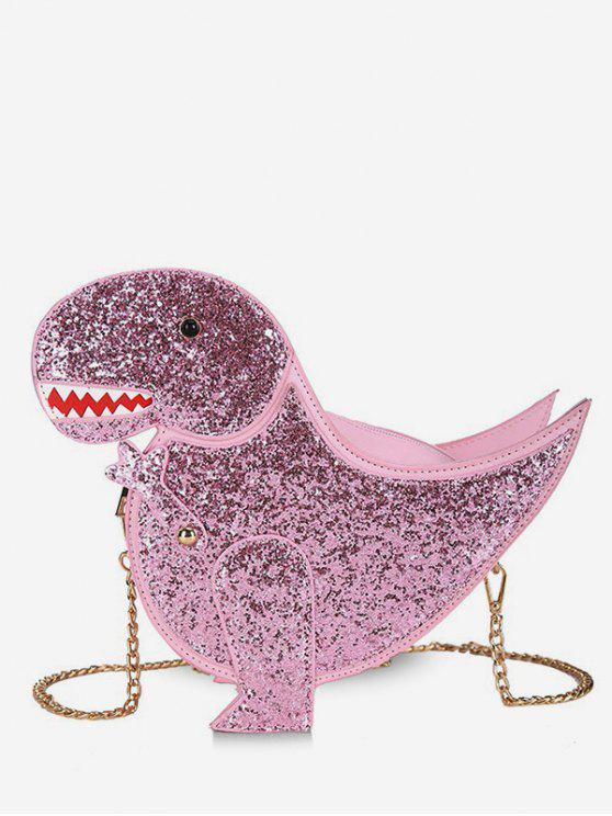 ladies Dinosaur Shape Glisten Chain Crossbody Bag - PINK