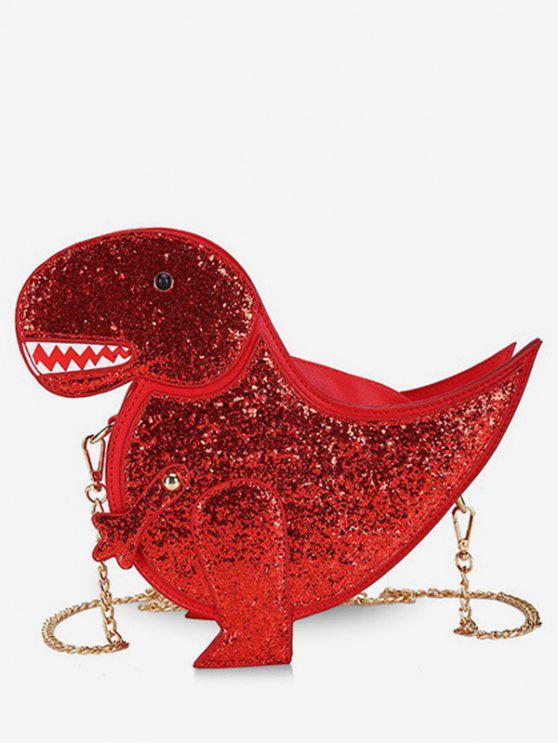shops Dinosaur Shape Glisten Chain Crossbody Bag - RED
