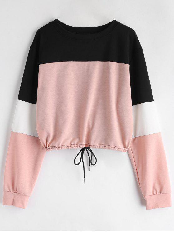 fancy Drawstring Color Block Pullover Sweatshirt - PINK S