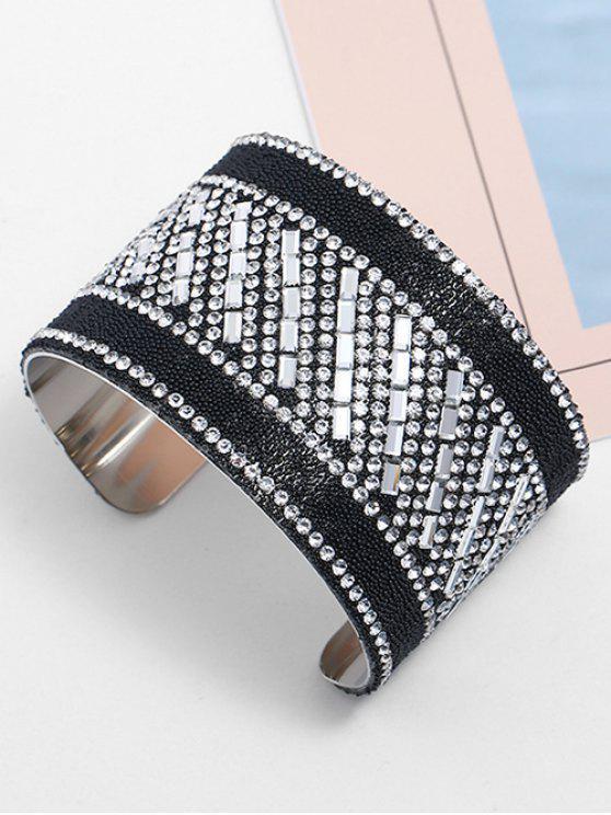 fashion Beads Inlaid Rhinestones Cuff Bracelet - SILVER