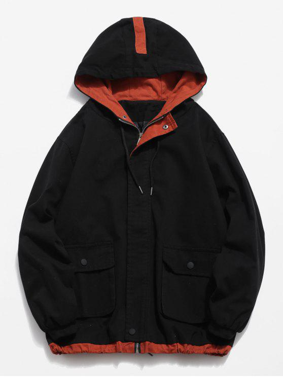hot Contrast Pockets Casual Jacket - BLACK 3XL