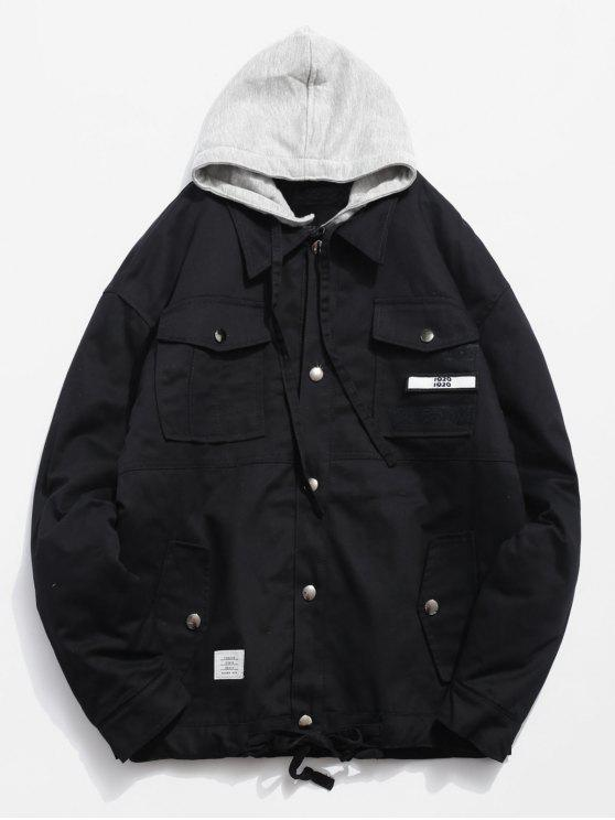 latest Detachable Hat Pockets Quited Jacket - BLACK M