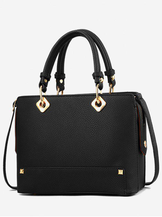 fashion Rivet Design Tote Bag - BLACK