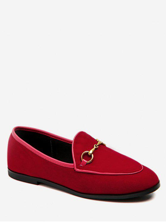 72f37728f6aa 33% OFF  2019 Metal Embellished Suede Loafers Flats In ROSE RED