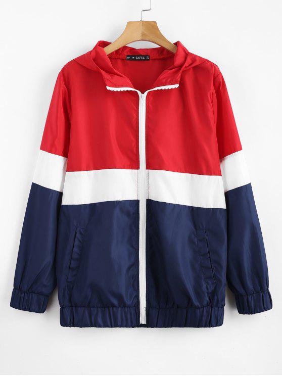 sale Tricolor Swishy Windbreaker Track Jacket - MULTI S