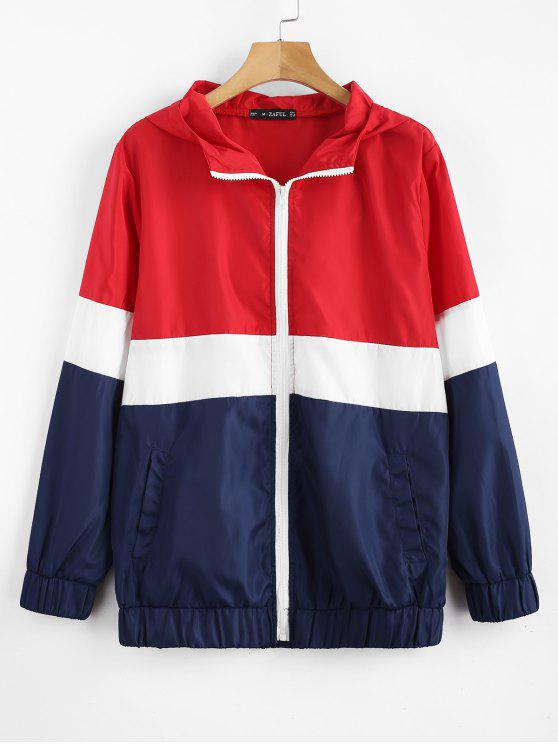 women Tricolor Swishy Windbreaker Track Jacket - MULTI L