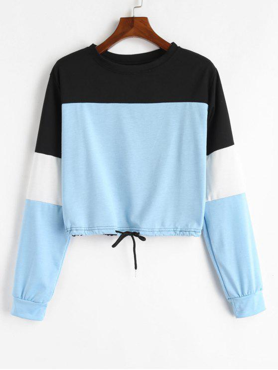 outfit Drawstring Color Block Pullover Sweatshirt - LIGHT BLUE S