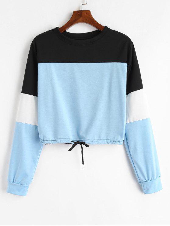 shop Drawstring Color Block Pullover Sweatshirt - LIGHT BLUE L