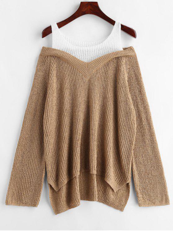 Асимметричный двухцветный свитер - загар Один размер