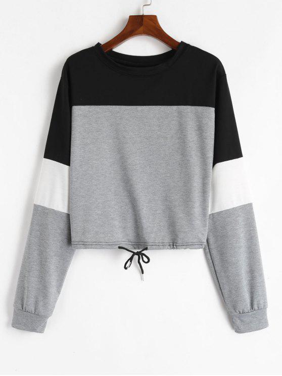 unique Drawstring Color Block Pullover Sweatshirt - GRAY M