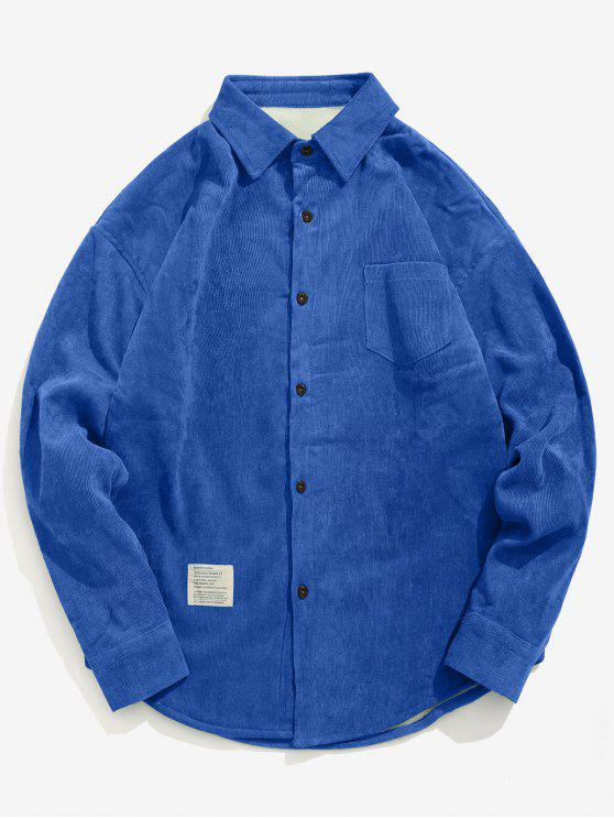 fashion Solid Fleece Lined Corduroy Shirt - BLUE 2XL