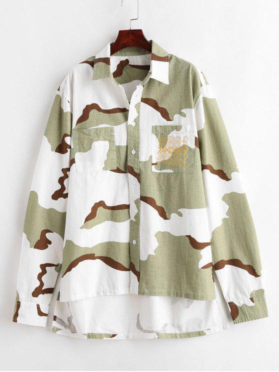Camicia Di Camouflage Con Orlo Asimmetrico - Three Sand Camouflag L
