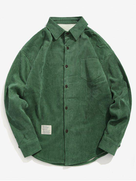 sale Solid Fleece Lined Corduroy Shirt - MEDIUM FOREST GREEN L