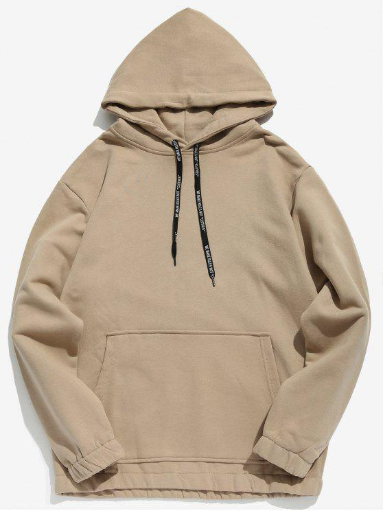 affordable Solid Color Fleece Drawstring Hoodie - LIGHT KHAKI 2XL