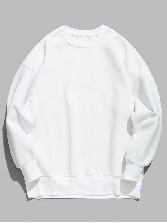 women's Candy Color Fleece Sweatshirt - WHITE M