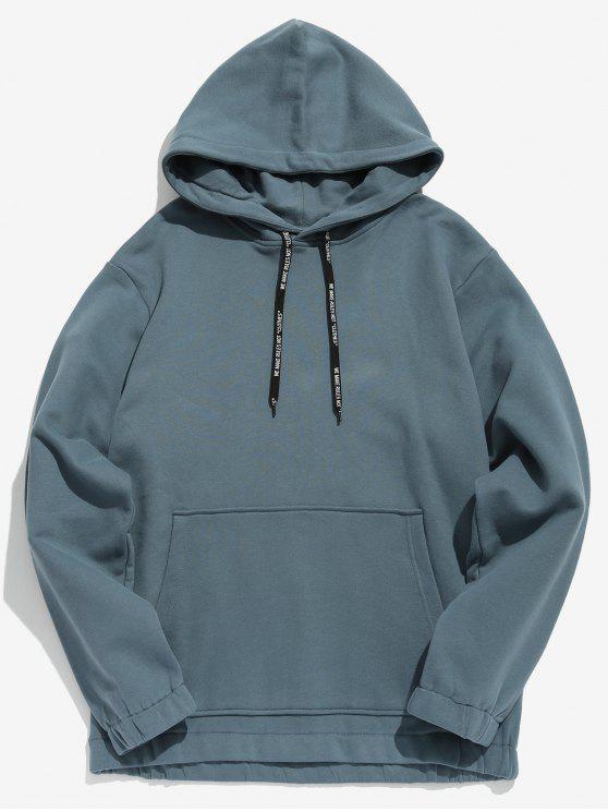lady Solid Color Fleece Drawstring Hoodie - BLUE GRAY 2XL