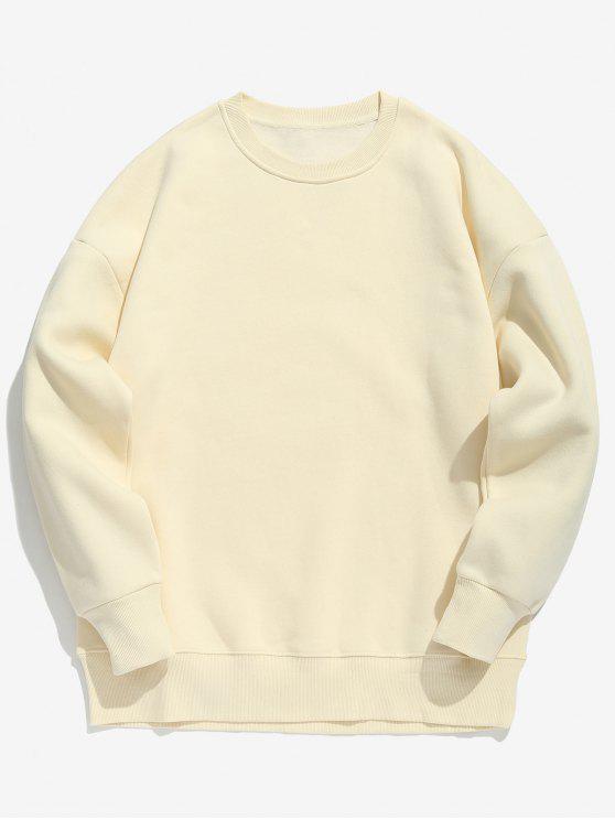 Sweat-shirt en Couleur de Bonbon en Toison - Abricot L