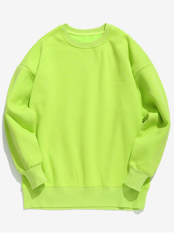 Sweat-shirt en Couleur de Bonbon en Toison - Vert Jaune XL