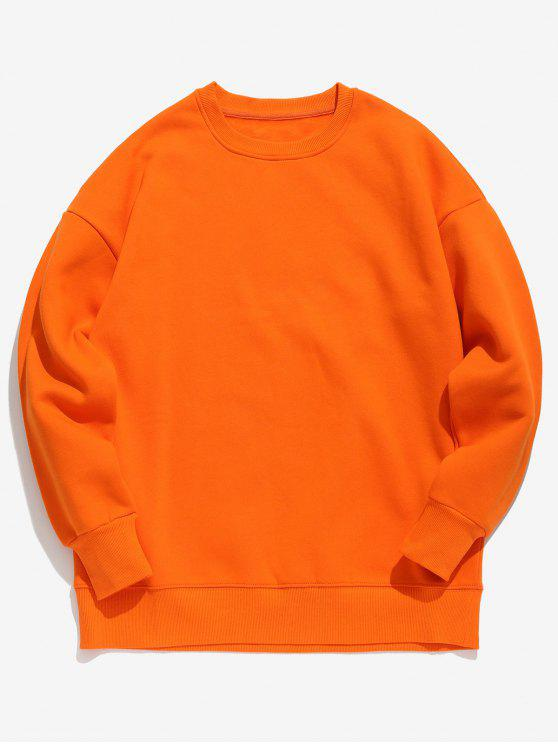 womens Candy Color Fleece Sweatshirt - BRIGHT ORANGE XL