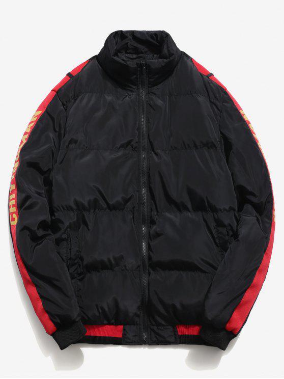 ladies Side Letter Stripe Puffer Jacket - BLACK S