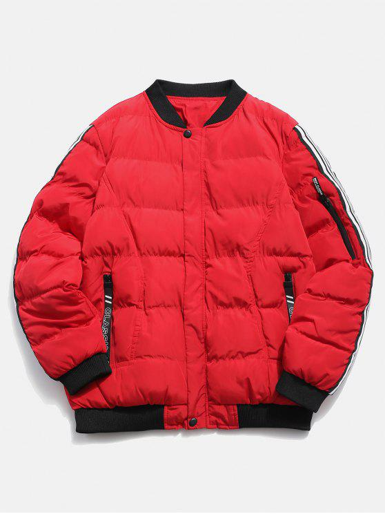 online Sleeve Striped Padded Bomber Jacket - RED S