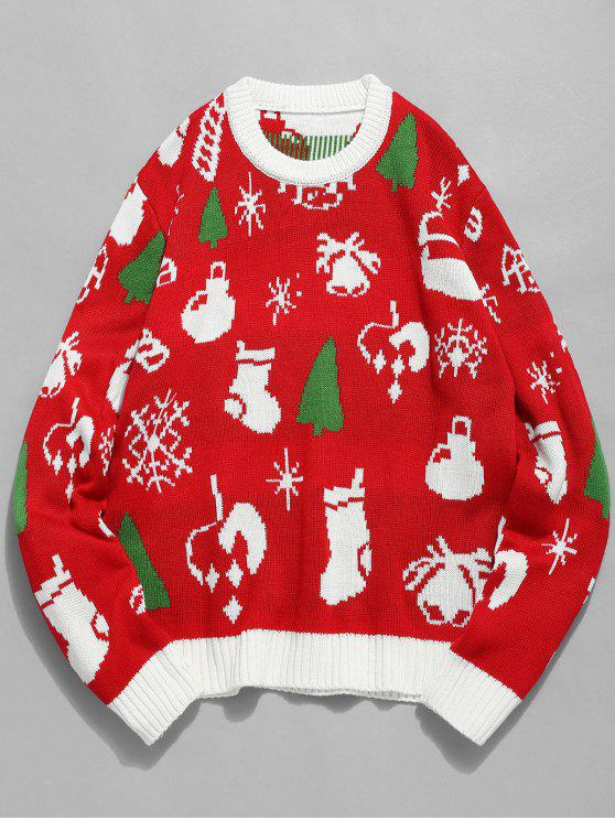 ladies Christmas Theme Print Pullover Sweater - LAVA RED 2XL