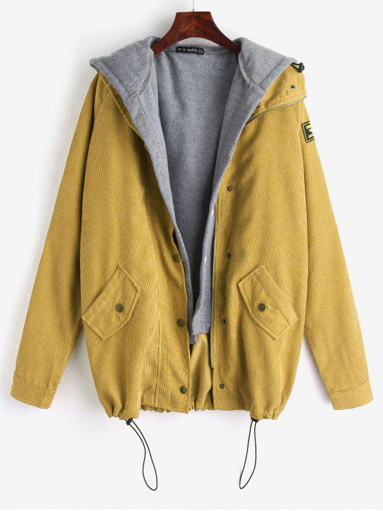 fashion ZAFUL Fleece Vest and Corduroy Jacket Twinset - MUSTARD S