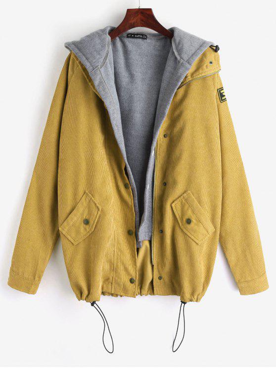 fancy ZAFUL Fleece Vest and Corduroy Jacket Twinset - MUSTARD L