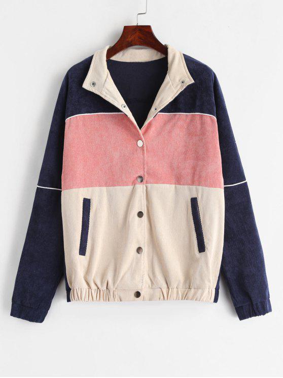 fancy ZAFUL Snap Button Contrast Corduroy Jacket - MULTI L