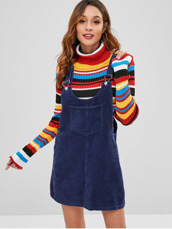 outfits Corduroy Dungarees Pinafore Dress - DEEP BLUE S