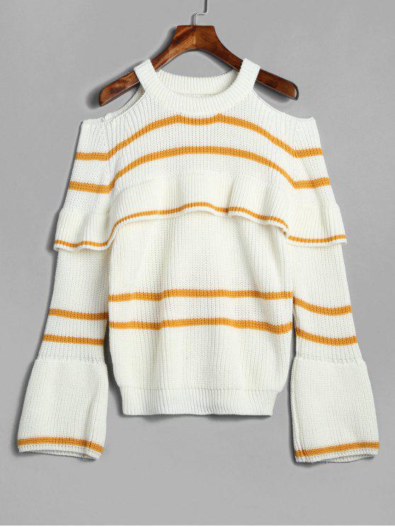 women ZAFUL Stripes Cold Shoulder Ruffles Sweater - BEE YELLOW ONE SIZE