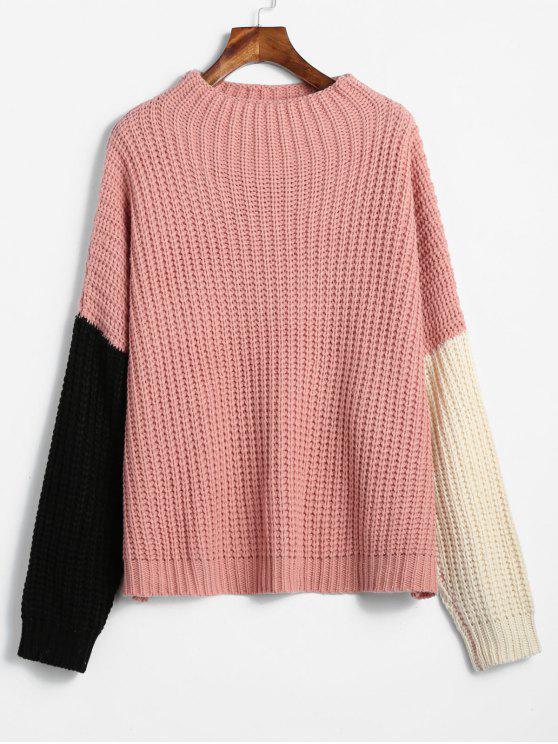women's ZAFUL Oversized Color Block Sweater - LIGHT PINK ONE SIZE