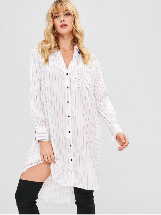 فستان بنمط قميص جيب مخطط - أبيض L