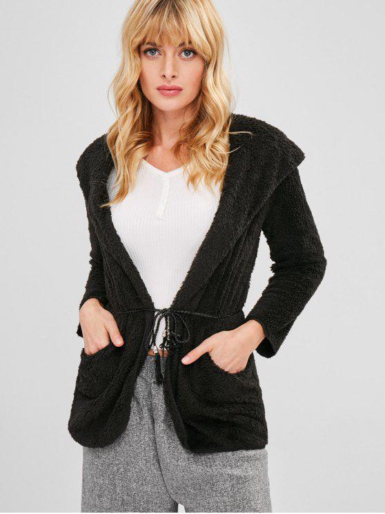 Manteau à Capuche Fourré Tunique - Noir Taille Unique