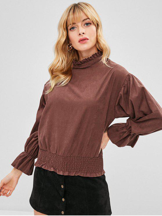 fancy Smocked Ruffled Top - CHESTNUT S