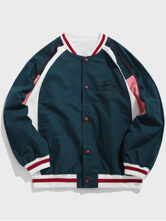 shops Color Block Embroidered Letter Baseball Jacket - PEACOCK BLUE 3XL
