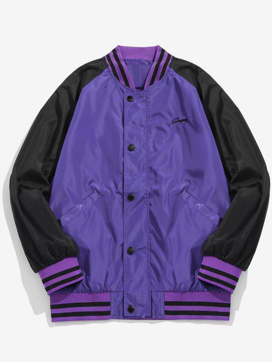 shop Graphic Windbreaker Baseball Jacket - PURPLE 2XL