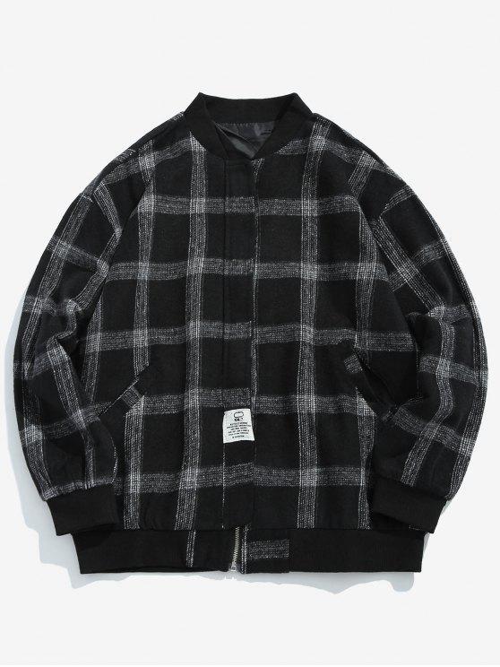 Chaqueta bomber de mezcla de lana a cuadros - Negro XL