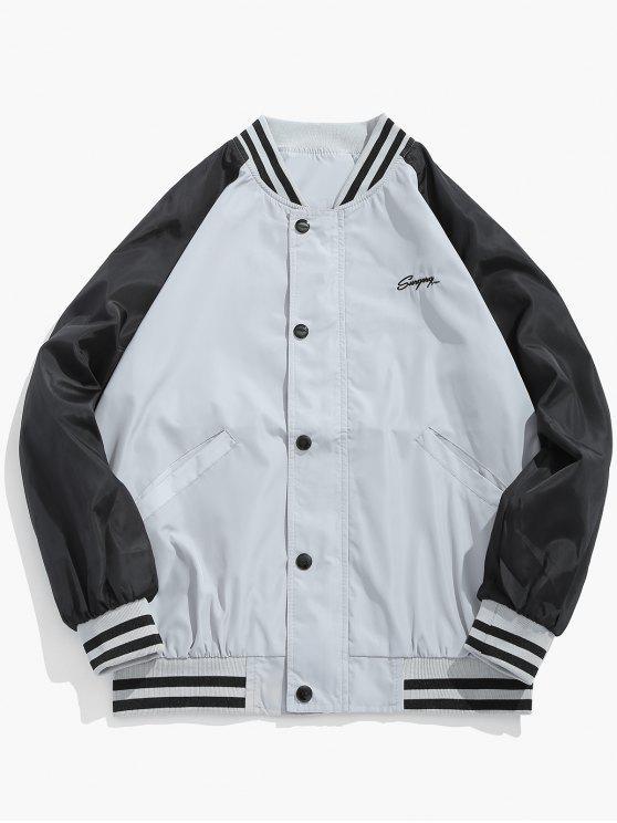 lady Graphic Windbreaker Baseball Jacket - LIGHT GRAY XL