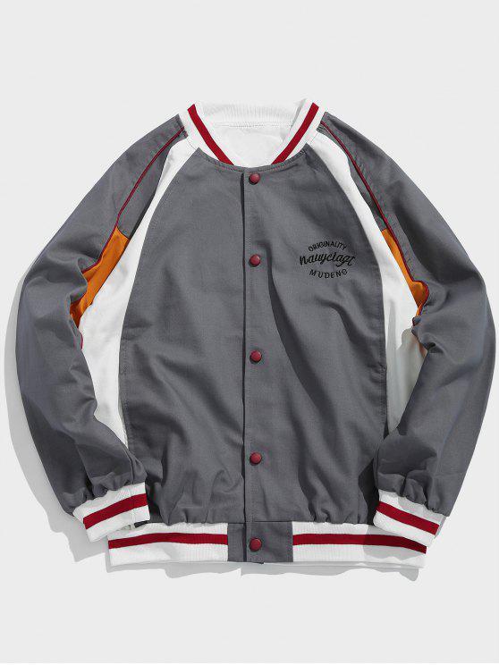 shop Color Block Embroidered Letter Baseball Jacket - GRAY L