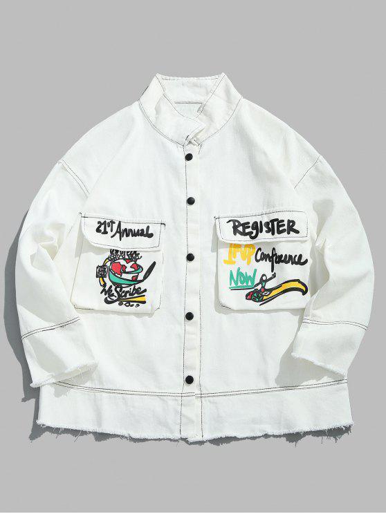 fancy Graphic Stitch Frayed Denim Jacket - WHITE S