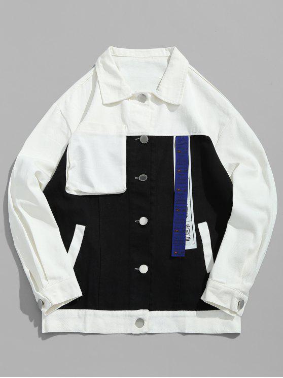 Chaqueta vaquera color block bolsillo - Negro M