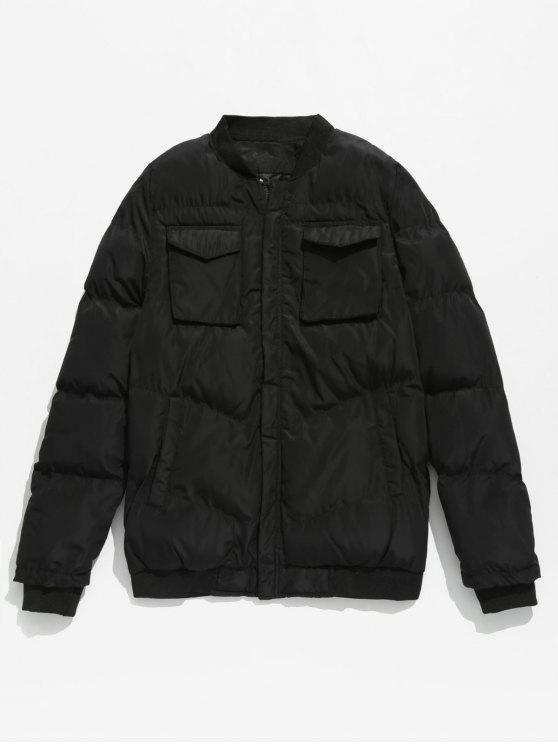 fashion Solid Pockets Quilted Jacket - BLACK S