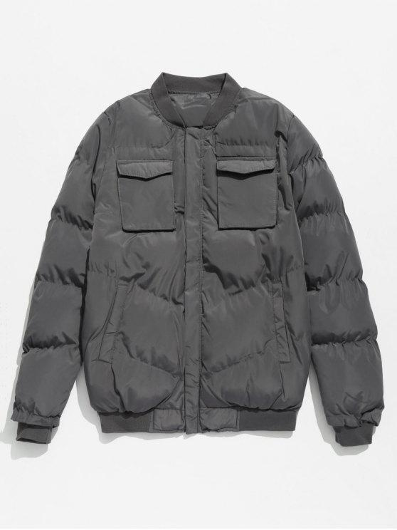 ladies Solid Pockets Quilted Jacket - DARK GRAY S
