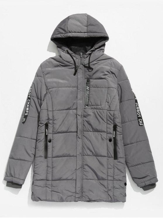 Abrigo acolchado con capucha de rayas con letras en la manga - Gris Oscuro S