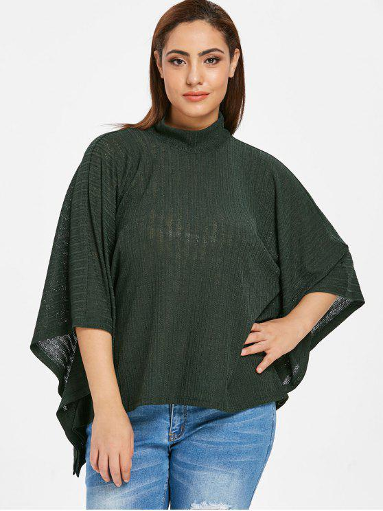 lady ZAFUL Plus Size Batwing Knitwear Top - DARK FOREST GREEN 1X