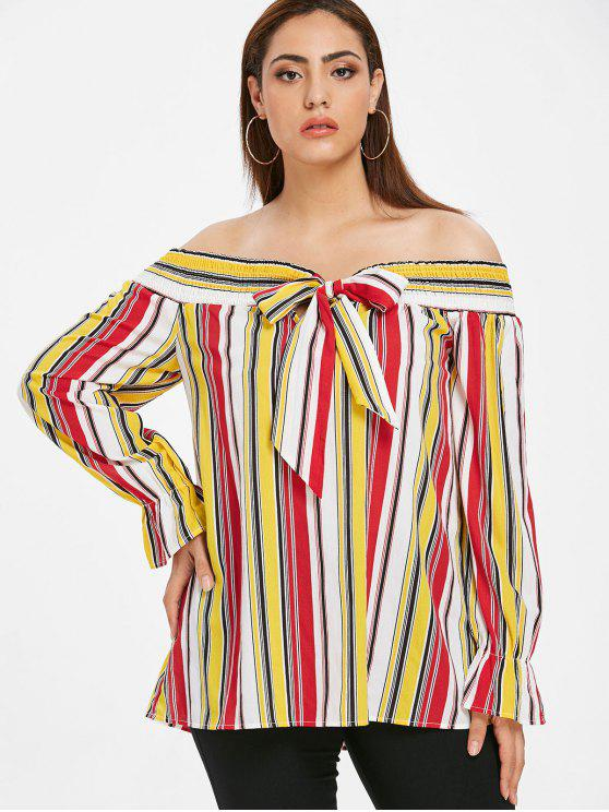 affordable ZAFUL Plus Size Knotted Striped Blouse - MULTI 1X