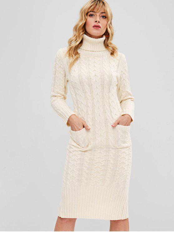 women Bodycon Cable Knit Pocket Sweater Dress - WARM WHITE ONE SIZE