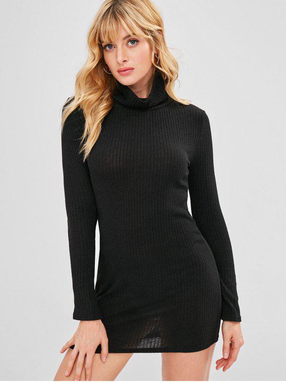 Gola alta malha vestido apertado - Preto XL